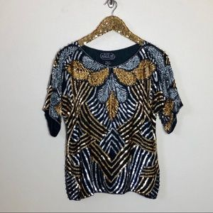Tops - Vintage sequin gold and blue blouse!!